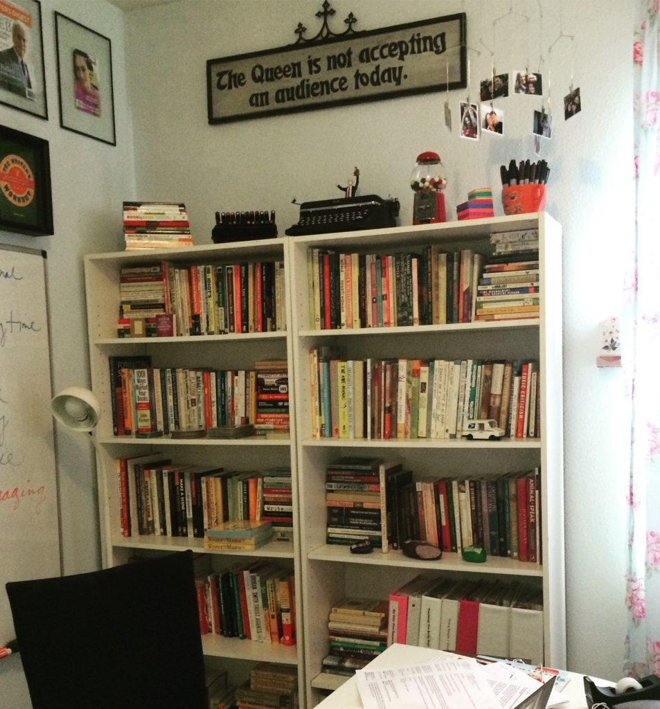 Christina Katz' home office bookshelf
