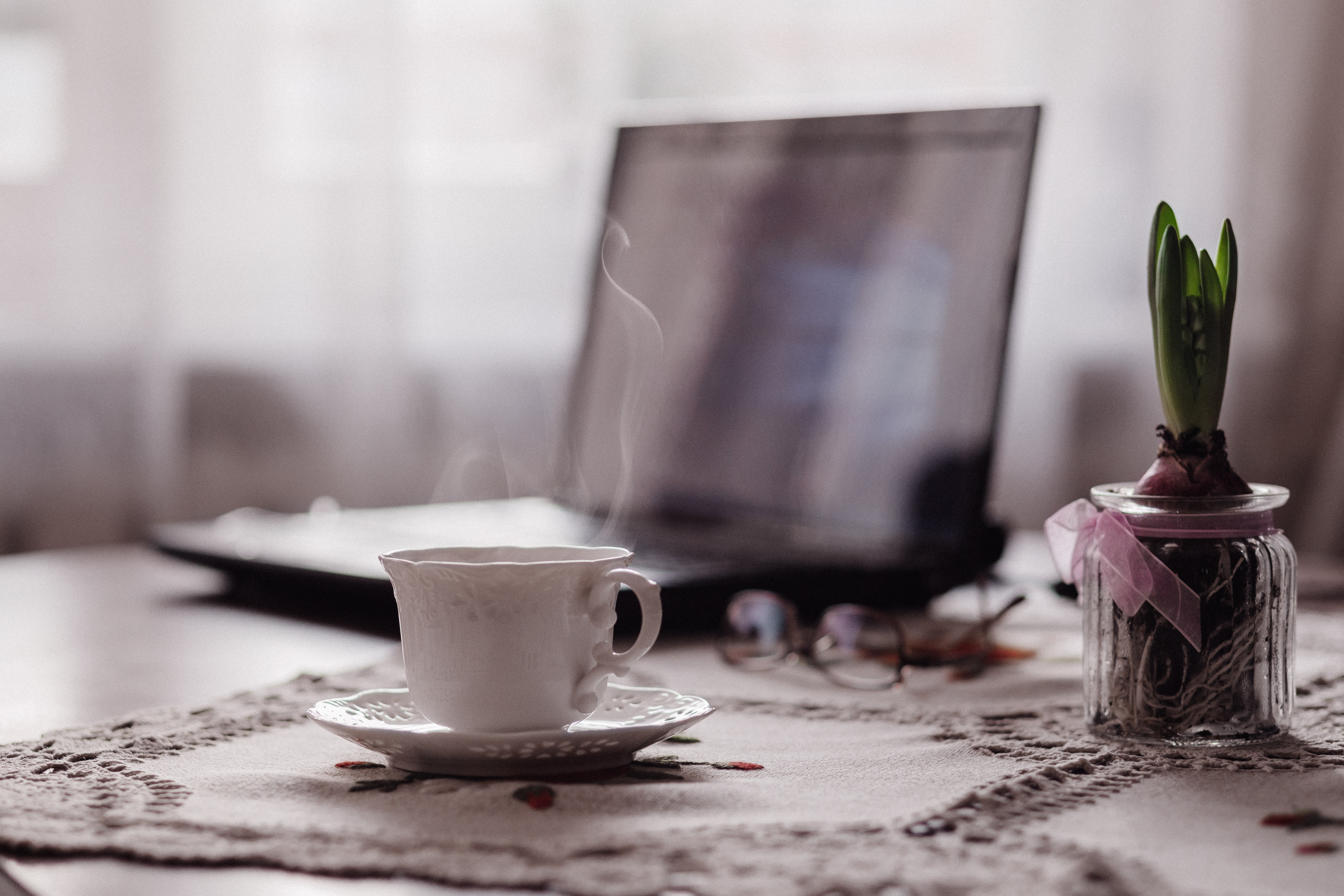 Cozy computer work at home comfortably love working at home enjoy writing